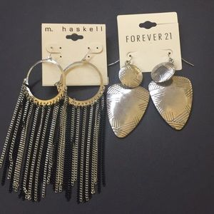 2 pairs of earrings (Forever 21 & M. Haskell), NWT